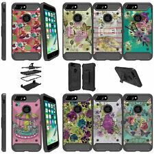 """For Apple iPhone 8 Plus (5.5"""") Shockproof Dual Layer Kickstand Case - Flowers"""