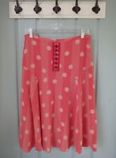 L.A.M.B. Womens Size Large Red Polka Dot 100% Silk A Line Skirt Exposed Hook