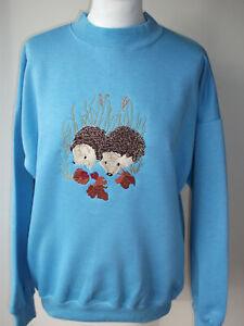 LADIES SWEATSHIRT,JUMPER,TOP WITH AN EMBROIDERED HEDGEHOGS DESIGN SKY BLUE