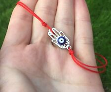 Silver Hand Of Fatima With Blue Eye Kabbalah Red cord Lucky Bracelet Protection