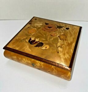 """Reuge Swiss Music Box Marquetry Italy Inlay  """"My Lady Greensleeves"""" Celluloid Ft"""