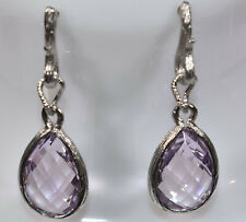 Dangling Briolette Rose de France Amethyst Earrings in 18K White Gold