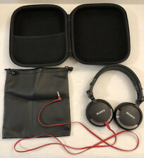 Sony MDR-V55 Headphones Black & Red w/Bag & Hard Zip Case/ 3.5mm Auxiliary Jack