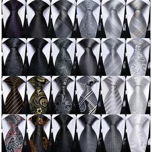 DiBanGu Black Gray Silver White Silk Mens Tie Set Stripped Paisley Necktie