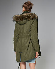 Womens Abercrombie & Fitch Fleece Fur Sherpa Parka Hoodie Jacket Size M £200