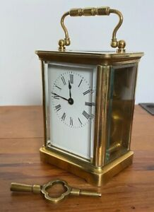RARE ANTIQUE 19TH C BRASS FRENCH CARRIAGE CLOCK PERFECT WORKING ORDER WITH KEY