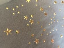 Wired Ribbon White Sheer Gold Stars 12 inches wide-3 Yds long