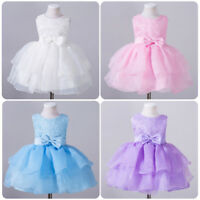 Toddler Baby Girl Sleeveless Bow Tutu Dress For Birthday Wedding Party Baptism