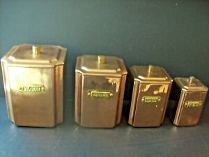 Vintage Polished Copper Brass Set of 4 Nesting Canisters Flour Sugar Coffee Tea