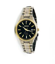 Seiko Men's Black Textured Dial Two-Tone Titanium Solar Watch SNE382