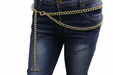 New Women Cool Fashion Belt Hip Waist Gold Metal Chain Paris Charm Buckle M L XL