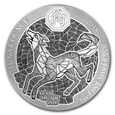 2018 1 oz Rwanda Year of the Dog Lunar 999 Silver Coin Mint Packaging