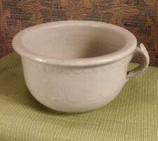 Vintage Stoneware Pottery Commode Chamber Pot Planter w/Handle Scallop Design 8""
