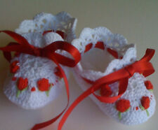 Handmade Crochet White Red Baby Booties Embroidered Rosebuds Infant or Doll