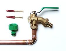 Lever Outside Tap Kit With Wall Flange, Through Wall Pipe, Garden Hose Fitting