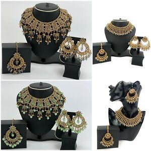 Indian Pakistani Asian Bollywood Women Jewellery Set Necklace Earrings Tikka