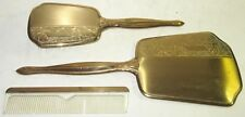 Vintage 3-Piece Gold-Plated Art Deco Vanity Set w/Beveled Mirror, Brush and Comb