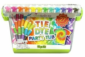 Create Basics Tie Dye Party Tub Kit 93 Piece 18 Colors New