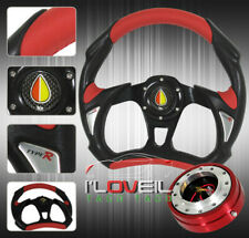 """320mm Sport Racing Steering Wheel W/ 1.5"""" Red Quick Release Adapter & Jdm Button"""
