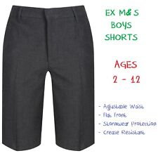EX M&S Boys School Summer Shorts Bermuda Ages 2-12 12 Grey Adjustable Waist