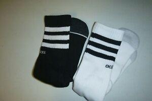 adidas SPORT mens athletics crew 2pair soft knit casual black&white socks:7-12