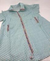 Vintage Childs dress housecoat Blue Geometric with Floral Trim 1950s EUC