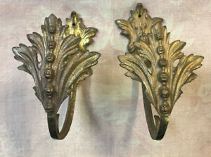 PAIR OF ANTIQUE FRENCH GILDED CURTAIN TIE BACKS