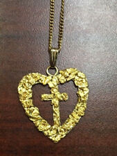 """Heart Cross Pendant With Natural Gold Nuggets Necklace 18"""" GF chain"""