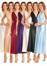 New Long Satin Nightdress Satin Built Up Shoulder Lace Detail Lingerie UK MADE
