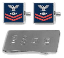 Libra esterlina Gemelos Dinero Clip EE. UU. Navy Rojo E-5 Caldera técnico BT