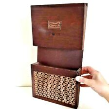 Vintage Mail Newspaper & Magazine Holder Wooden & Brass Tone Hammered Wall Hang