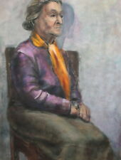 Old woman vintage gouache painting