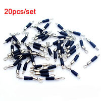 20Pcs Fishing Swivels Snap Rolling Connector Line clip 8 Word Ring Fast Link UK