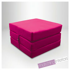 Pink 100% Cotton Fold Out Single Z Bed Cube Guest Futon Chair Bed Budget Studio