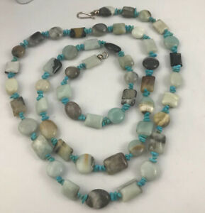 """JAY KING Sterling Silver Turquoise Nugget Multi Gemstone Agate Necklace 42"""" Long"""