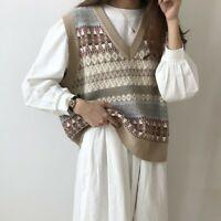 Women Knitted Vest Tank Tops Sweater Waistcoat Sleeveless V-neck Geometric Retro