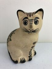 Vtg Hand Painted Cat Clay Pottery Mexico Souvenir Figurine