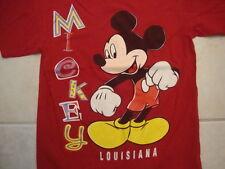 Vintage Walt Disney Mickey Mouse Louisiana Souvenir Red Cotton T Shirt Size M