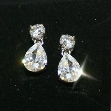 Diamond Alternatives 3ctw Teardrop Dangling Earrings 14k White Gold Over 925 SS