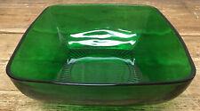 Forest Green Glass Charm Anchor Hocking Salad Vegetable Serving Bowl MCM 782 MOD