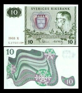 SWEDEN 10 KRONOR P52 1968 or 1971 * REPLACEMENT GUSTAF UNC Swedish Currency NOTE