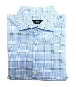 Hugo Boss Blue Windowpane Check Men's LS Spread Collar Shirt Size 16 36/37