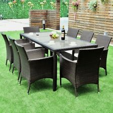 9PCS Yard Patio Rattan Dining Sofa Table Chairs Set Outdoor Lawn Set Furniture W
