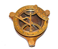 "Antique finish brass 4"" compass maritime marine nautical sundial compass gift"