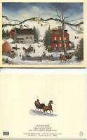 1 VINTAGE CHRISTMAS GREEN RED HOUSE HORSE WINTER SNOW FOLK ART AMERICANA CARD