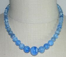 Graduated Bead Necklace Tube Clasp Antique Victorian Blue Marbled Swirl