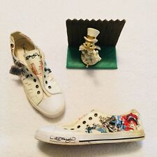 Ed Hardy Shoes Laceless White Sneakers Low Top Canvas Mens Size US 12 Eu 45