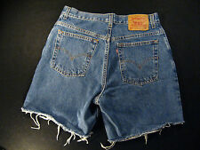 LEVIS Zipper 550 CUTOFF JEAN SHORTS Cut Off 31 Denim Red Tab High Waisted