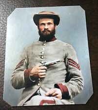 Civil War Military Soldier With hand Gun colored tintype C009RP