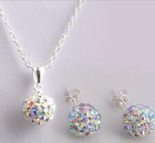 Women Exquisite Korean Style Shambhala white AB Crystal Necklace Earrings Set